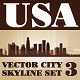 Vector City Skyline USA Set Number 3 - GraphicRiver Item for Sale