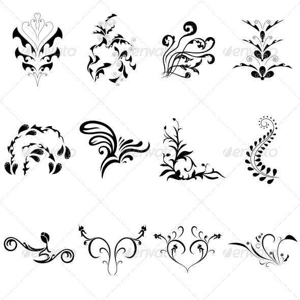 GraphicRiver Decorative Floral Elements Vector Pack 4730400