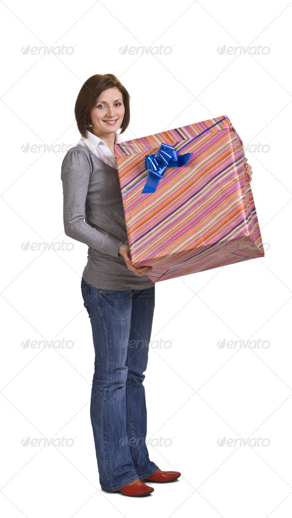 Woman with a Gift Box - Stock Photo - Images