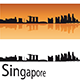 Singapore Skyline in Orange Background - GraphicRiver Item for Sale