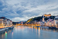 Saone river in Lyon city at evening - PhotoDune Item for Sale