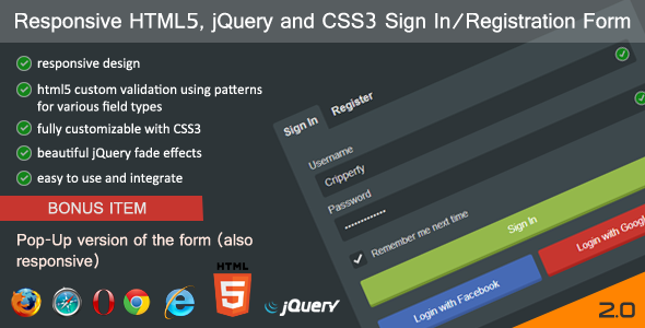 Responsive HTML5/jQuery Sign In/Registration Form - CodeCanyon Item for Sale