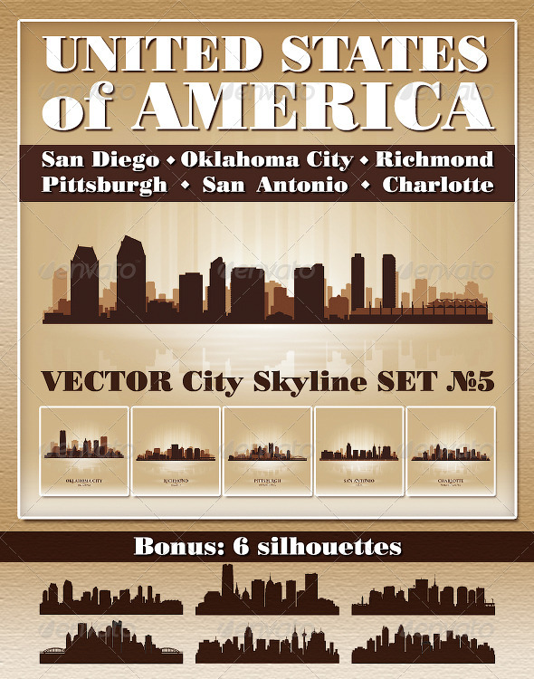 GraphicRiver Vector City Skyline USA Set Number 5 4732521