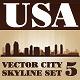 Vector City Skyline USA Set Number 5 - GraphicRiver Item for Sale