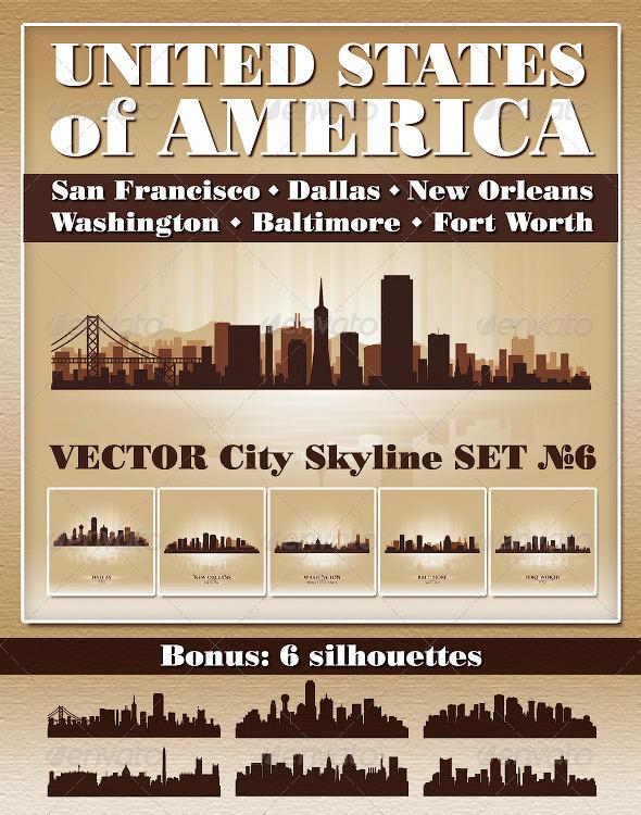 GraphicRiver Vector City Skyline USA Set Number 6 4732648