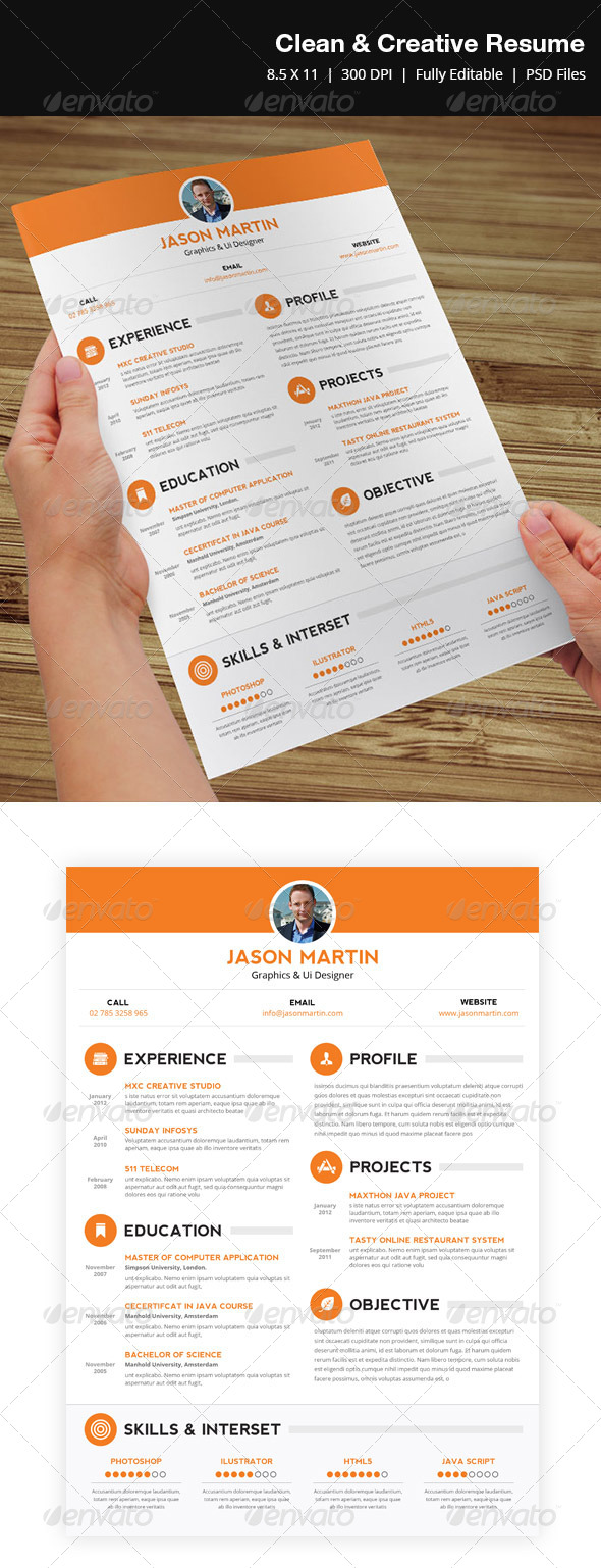 Clean & Creative Resume  - Resumes Stationery