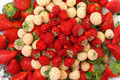 Ripe White and Red Strawberries on plate - PhotoDune Item for Sale