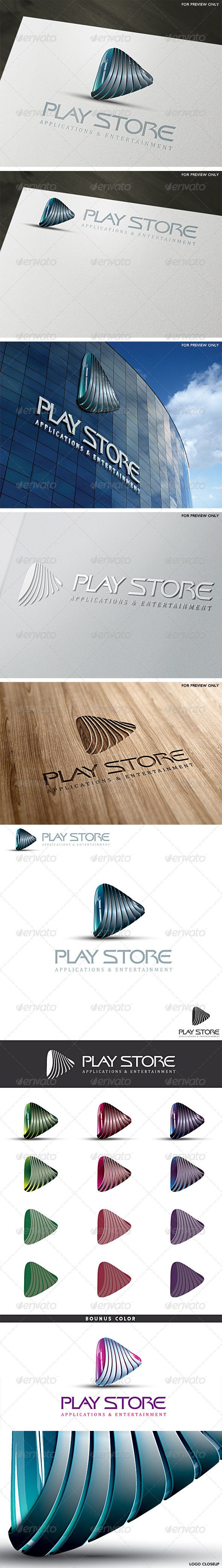 3D Play Store Logo Template - 3d Abstract