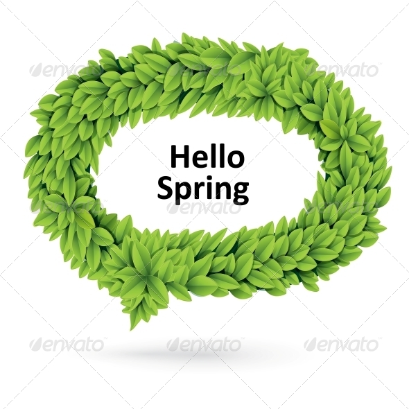 GraphicRiver Green Spring Speech Bubble of Leaves 4734027