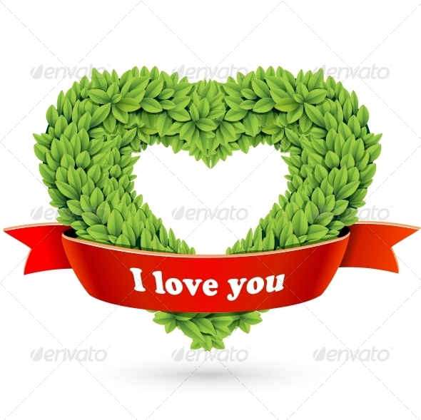 GraphicRiver Heart of Leaves with Red Ribbon and Text 4734104