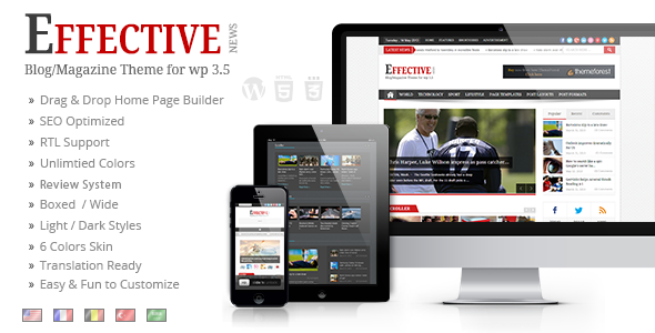 ThemeForest EffectiveNews Responsive WP News Magazine blog 4724902