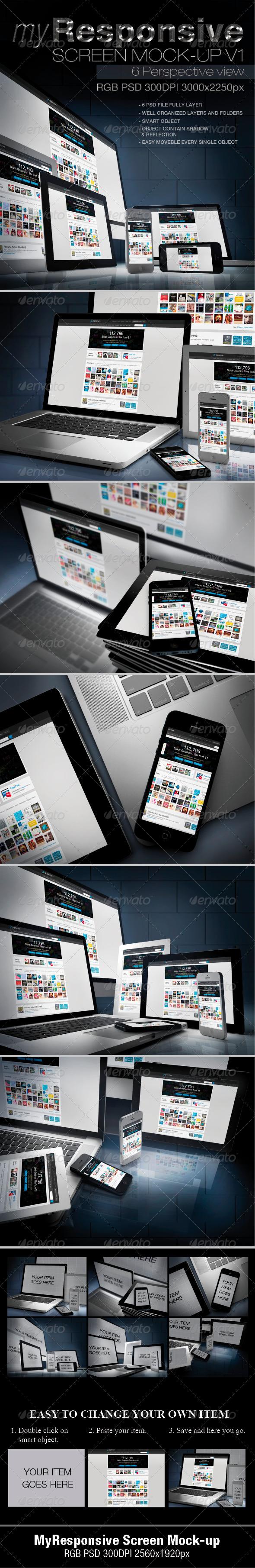 GraphicRiver myResponsive screen mock-up 4665262