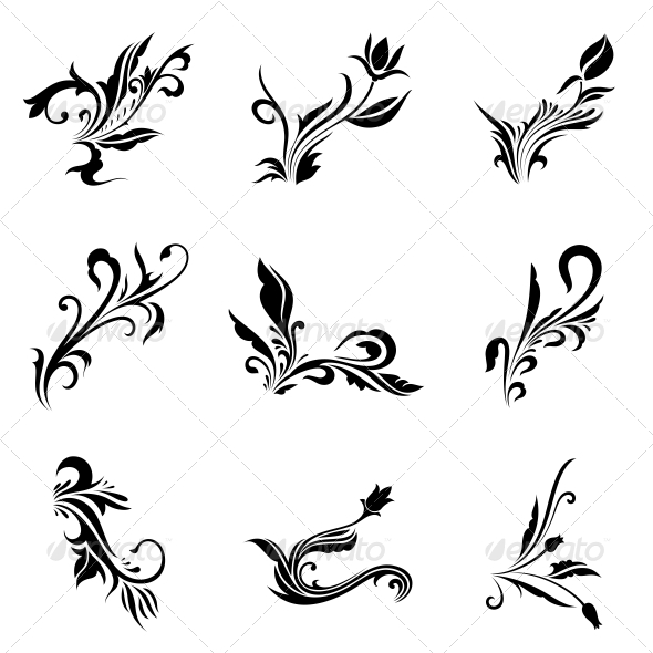 GraphicRiver Abstract Tribal Decorative Flowers Vector Pack 4734985
