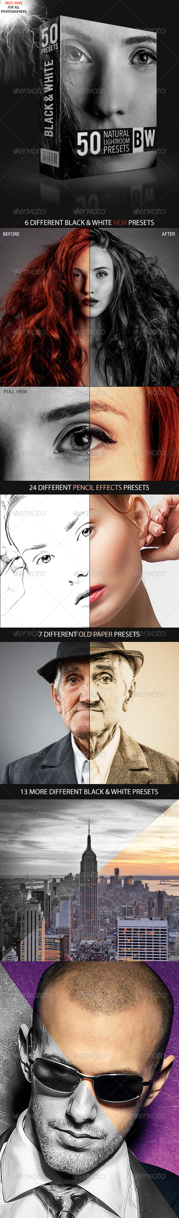 GraphicRiver Natural Black and White Lightroom Presets 4735005