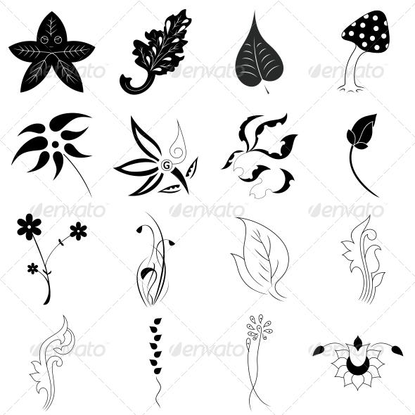 GraphicRiver Decorative Floral Leaf Elements Vector Pack 4735078