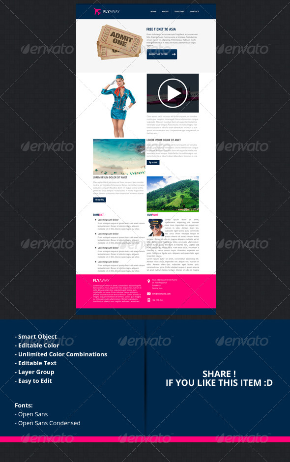 GraphicRiver flyaway PSD Email Newsletter Template 4735176