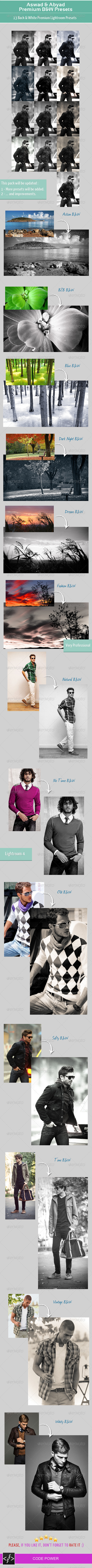 GraphicRiver Aswad & Abyad Premium B&W Presets 4736167