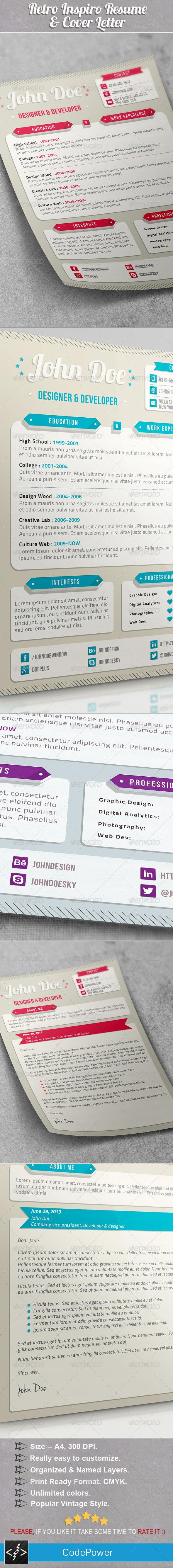 GraphicRiver Retro Inspiro Resume & Cover Letter 4657272