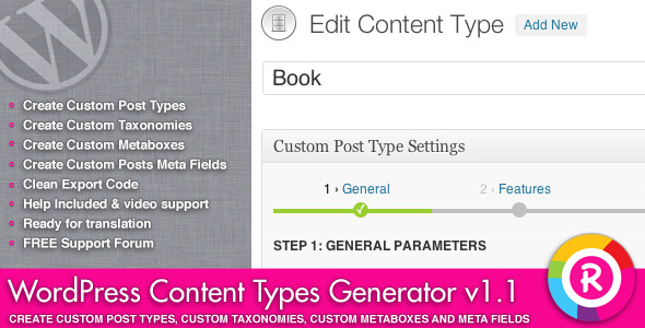 WordPress Content Types Generator - CodeCanyon Item for Sale