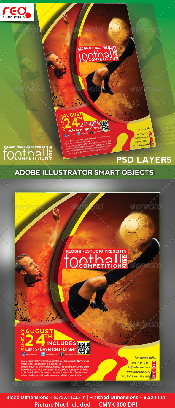 GraphicRiver Football Competitions Flyer Poster & Magzine Temp 4737546