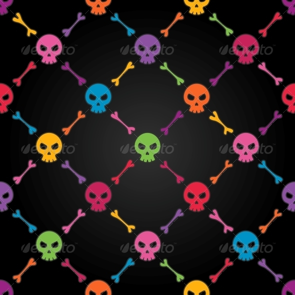 GraphicRiver Multicolor Seamless Pattern with Skulls 4737988