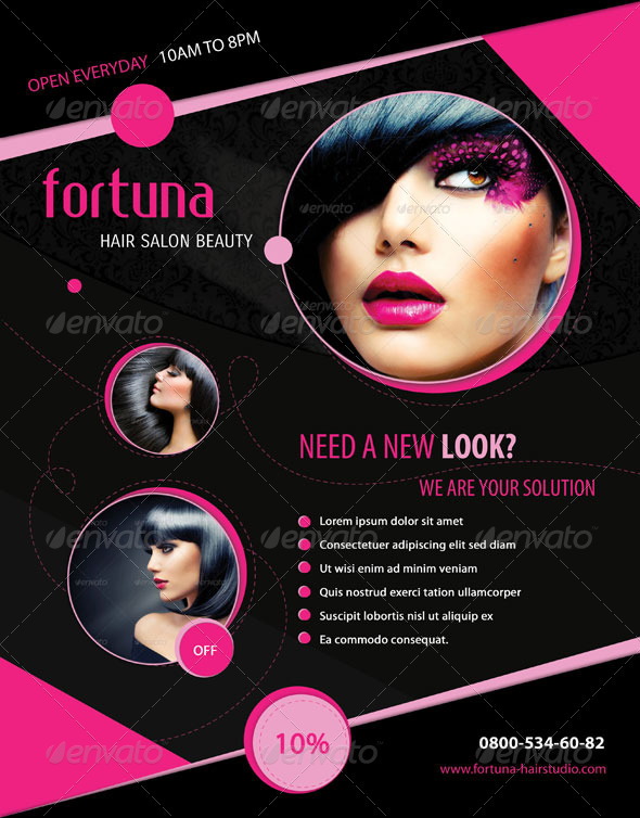 GraphicRiver Fortuna Hair Salon Flyer 4653572