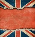 Grunge British flag on ripped paper with big empty space - PhotoDune Item for Sale