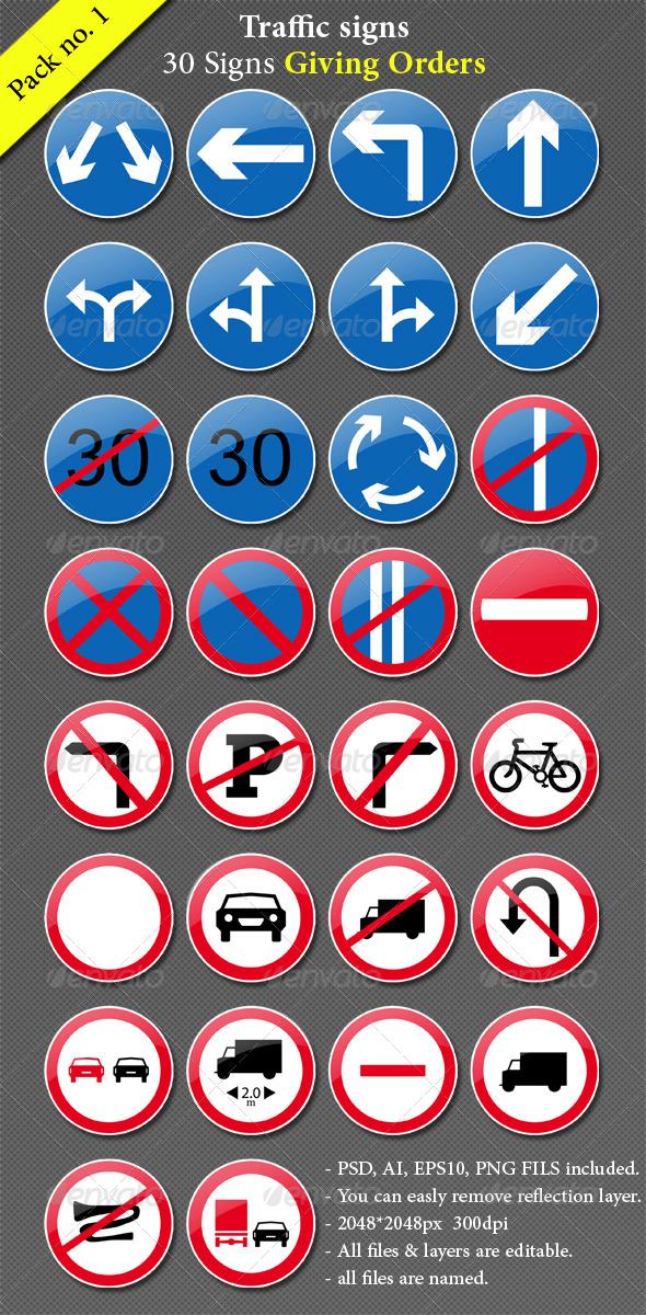 Traffic Signs - Objects Vectors