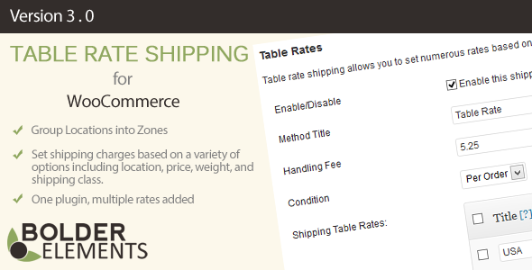 WooCommerce Table Rate Shipping - CodeCanyon Item for Sale