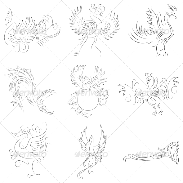GraphicRiver Artistic Phoenix Bird Designs Vector Pack 4741297