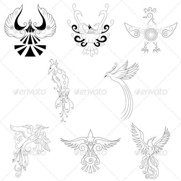 GraphicRiver Artistic Phoenix Bird Designs Vector Pack 4741298