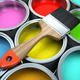 Banks of multicolored paint and brush - PhotoDune Item for Sale
