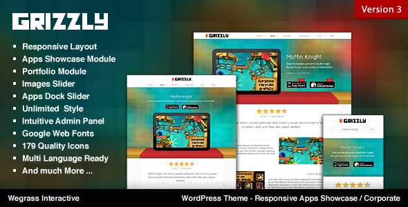 Grizzly - Responsive App Showcase / Corporate - Software Technology