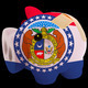 bankrupt piggy rich bank in colors of flag of american state of - PhotoDune Item for Sale