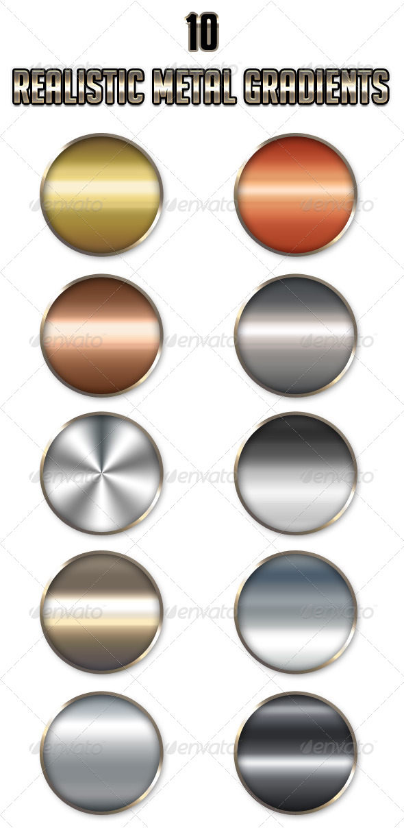 GraphicRiver 10 Realistic Metal Gradients 4744424