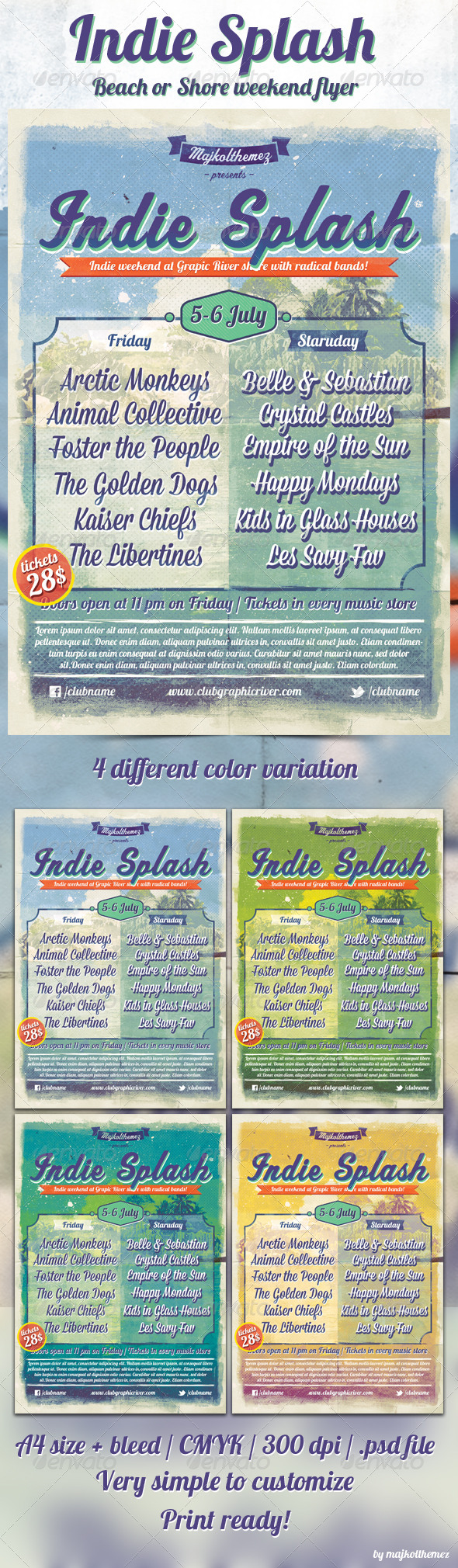Indie Splash Flyer - Concerts Events