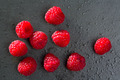 berries raspberry on black slate background - PhotoDune Item for Sale
