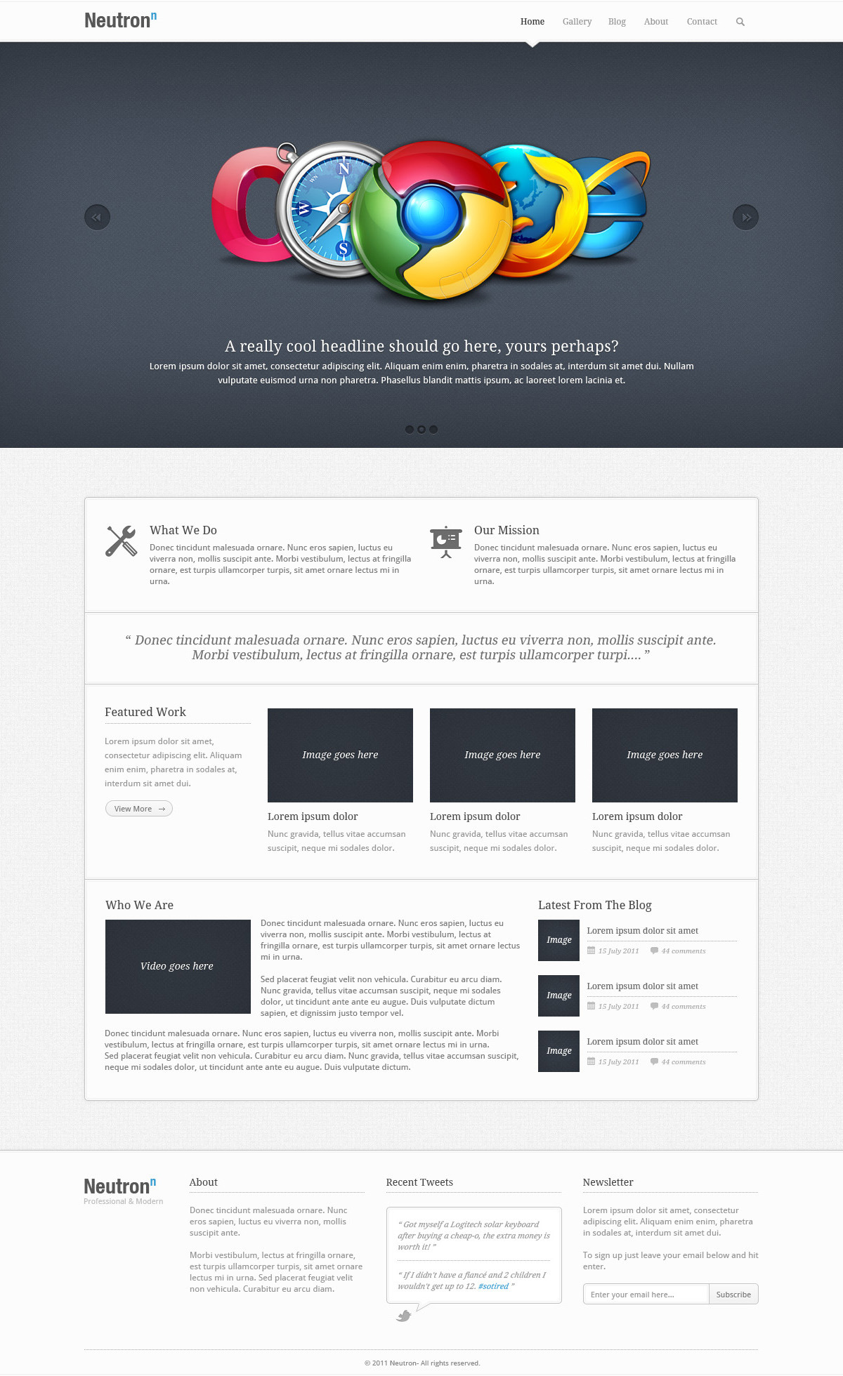 Neutron - PSD Theme - The Homepage section of the Neutron theme, containing sections for: A Full Width Carousel, Mission Statements, Featured Work, Who You Are, Latest Blog Posts, plus the Header and Footer sections.
