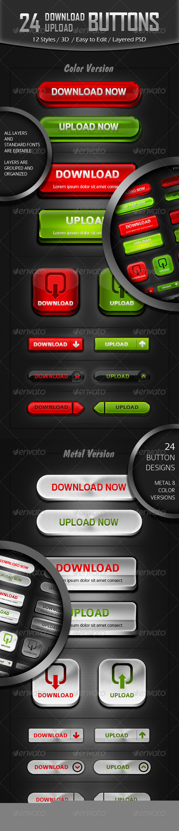 GraphicRiver 12 Styles Download Upload Button Designs 4730596