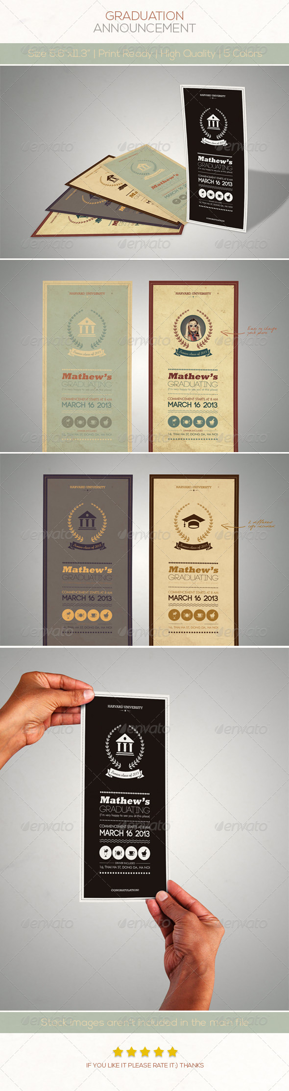 GraphicRiver Retro Graduation Announcement 4746835
