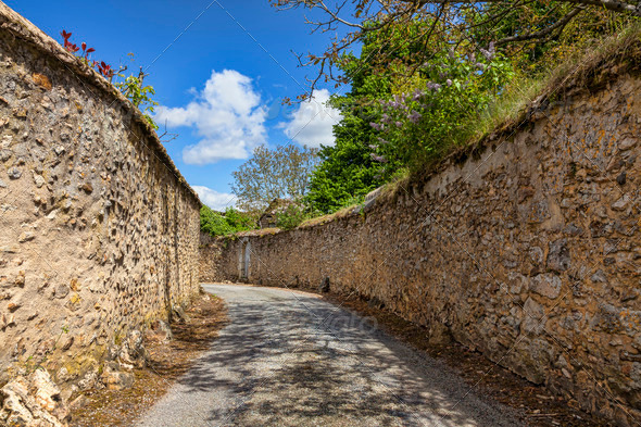 Road Between Stone Walls - Stock Photo - Images