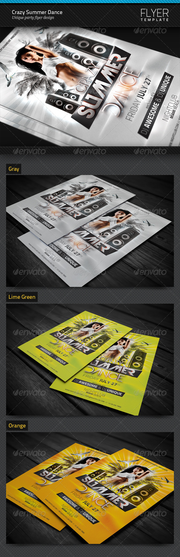 GraphicRiver Crazy Summer Dance Party Flyer Template 4748441