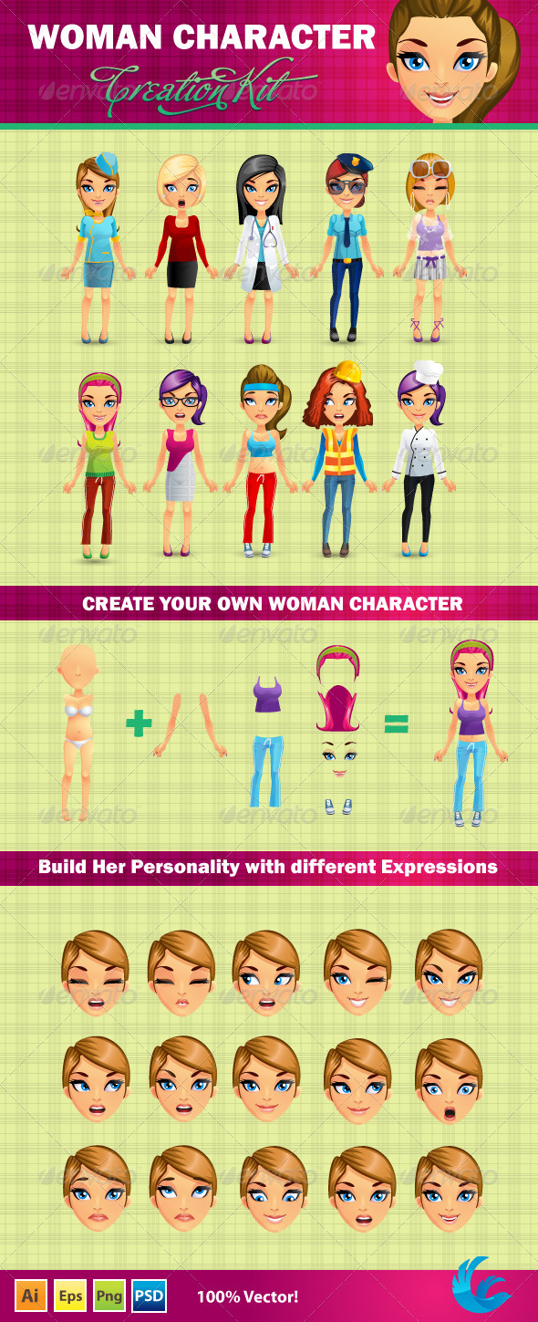 GraphicRiver Woman Character Creation Kit 4748455