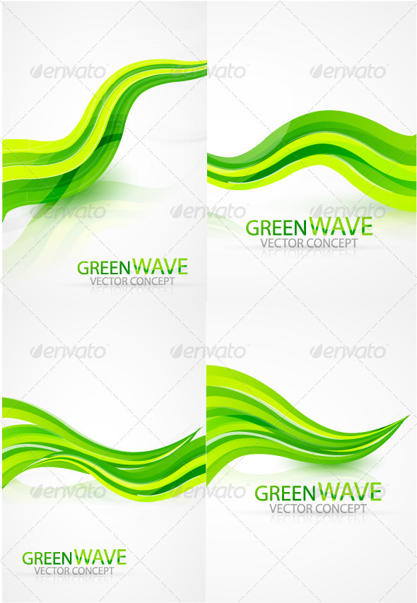 GraphicRiver Green waves background 495421