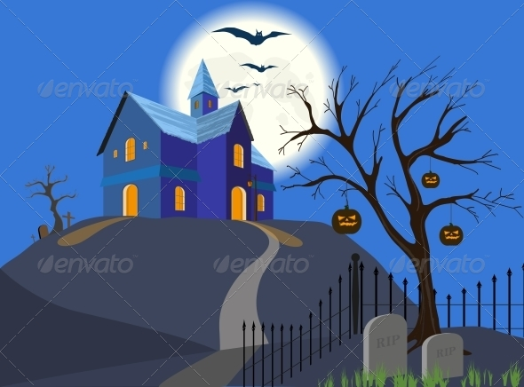 GraphicRiver Halloween Pumpkin and House 4749318