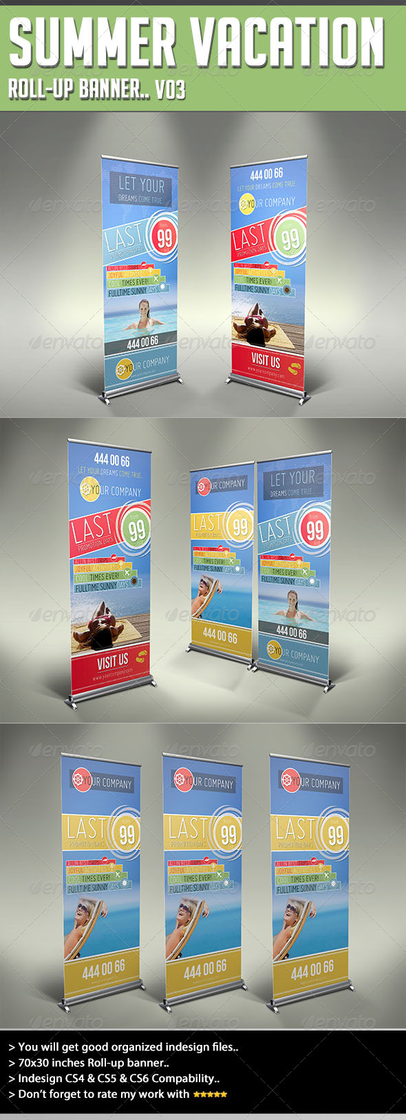 GraphicRiver Roll-up Banner Summer Vacation 4605911