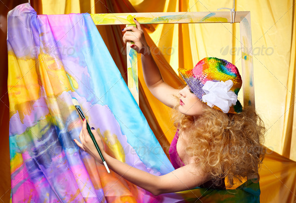 woman  artist painting - Stock Photo - Images