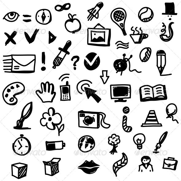 GraphicRiver Hand Drawn Sketch Icon Set 4753196
