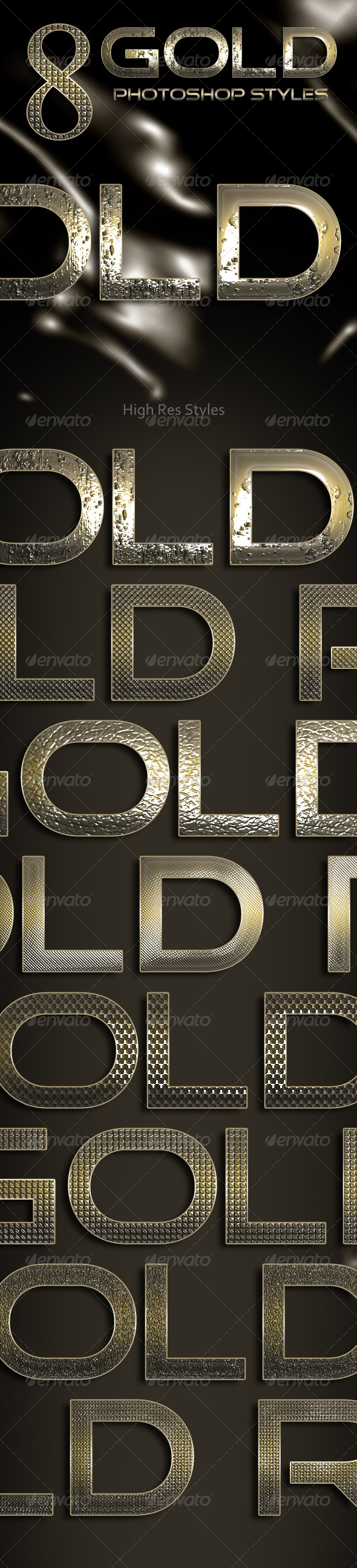 8 Gold Photoshop Styles - Text Effects Styles