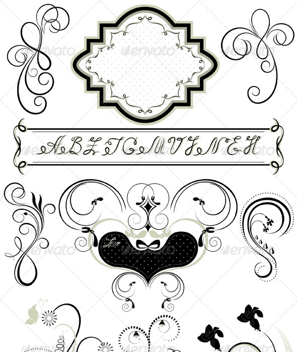 GraphicRiver Frames and Calligraphic Ornaments 4588271